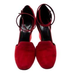 Hermes Rouge Vif Suede Lively Ankle Strap Wedge Pumps Size 39