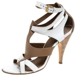 Hermes White/Brown Leather Strappy Open Toe Sandals Size 38