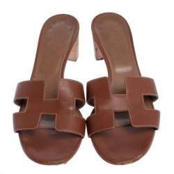 hermes brown leather oran block heel sandals size 39
