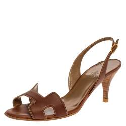 Hermes Brown Leather Night Slingback Sandals Size 38.5