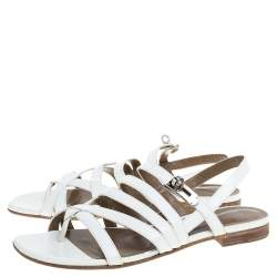 Hermes White Leather Marine Strappy Flat Sandals Size 38.5