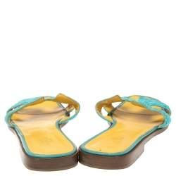 Hermes Blue Fabric Oran Flat Slides Size 41