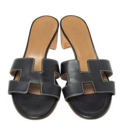 Hermes Black Leather Oran Sandals Size 37