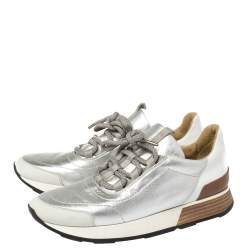 Hermes Silver Leather and Suede Trail Low Top Sneakers Size 38.5
