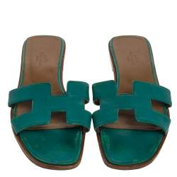 Hermes Teal Green Leather Oran Flat Slides Size 38.5