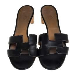 Hermes Black Leather Oasis  Sandals Size 40.5