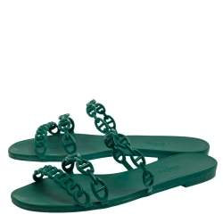 Hermes Green Rubber D'ancre Chaine Sandals Size 39
