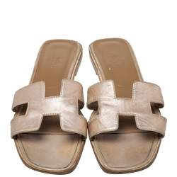 Hermes Metallic Gold Leather Oran Flat Sandals Size 40