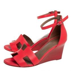 Hermes Red Leather Legend Wedge Sandals Size 37
