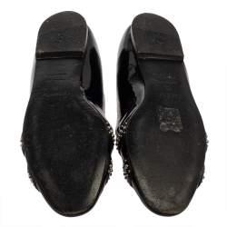حذاء باليرينا فلات هيرمس نايس جلد أسود لامع مرصع مقاس 39