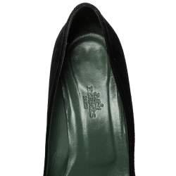 Hermes Black Suede Slip On Block Heel Pumps Size 38