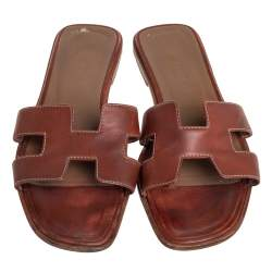 Hermes Brown Leather Oran Flat Sandals Size 37.5