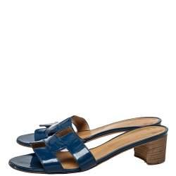 Hermès Blue Patent Leather Oasis Slide Sandals Size 40