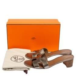 Hermes Metallic Beige Patent Leather Oasis Block Heel Slide Sandals Size 38