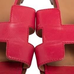 Hermes Pink Leather Oran Slide Flats Size 40.5