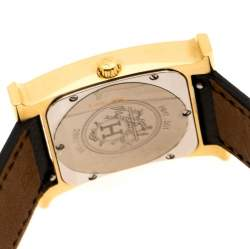 Hermes Yellow Gold Plated Stainless Steel Heure H Women's Wristwatch 26 mm