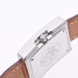 Hermes White Stainless Steel Belt BE1.210 Quartz Women's Wristwatch 26 MM