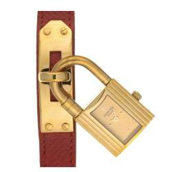 Hermes Champagne Gold Tone Stainless Steel Kelly KE1.210 Women's Wristwatch 20.5 MM