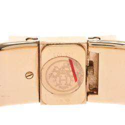 Hermes Champagne Gold Plated Stainless Steel Loquet LO1.201 Quartz Women's Wristwatch 19 MM