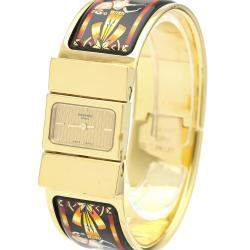Hermes Champagne Gold Plated Stainless Steel Loquet Quartz LO1.201 Women's Wristwatch 20 MM