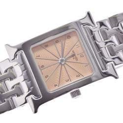 Hermes Pink Stainless Steel Heure H HH1.110 Quartz Women's Wristwatch 21 MM