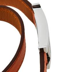 Hermes Silver Stainless Steel Leather Wrap Heure H HH1.210 Women's Wristwatch 21 mm