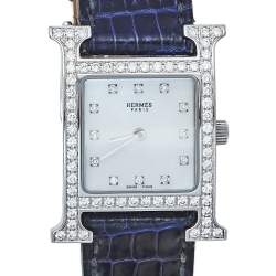 Hermes Mother Of Pearl Stainless Steel Diamonds H Hour HH1.230 Women's Wristwatch 21 mm