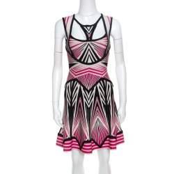 Herve Leger Aztec Pattern Jacquard Knit Cutout Detail A Line Anaya Dress XXS