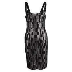 Herve Leger Black Foil Printed Jasmine Bandage Dress M