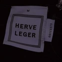 Herve Leger Black Metal Chain Link Detail Bandage Gemma Dress M