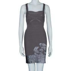 Herve Leger Grey Cross Back PU Sequin Embellished Bandage Dress S