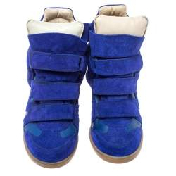 Isabel Marant Electric Blue Suede Leather Beckett Wedge High Top Sneakers Size 37