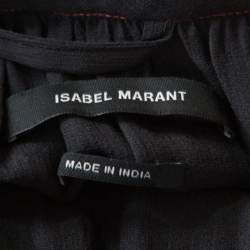 Isabel Marant Black Silk Beaded Belted Long Sleeve Dress M