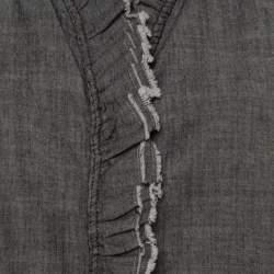 Isabel Marant Etoile Grey Chambray Ruffled Awendy Shirt L