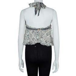 Isabel Marant Floral Print Silk Tie-up Halter Top S
