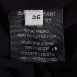 Isabel Marant Etoile Black Cotton Eyelet Detail Gathered Skirt S