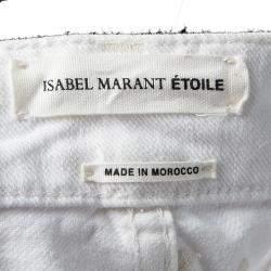 Isabel Marant Beige White Denim Dot Embroidered Rumba Pants S
