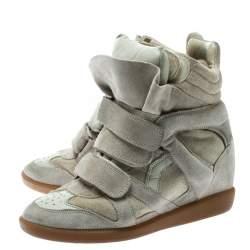 Isabel Marant Beige Suede Bekett Wedge Sneakers Size 36