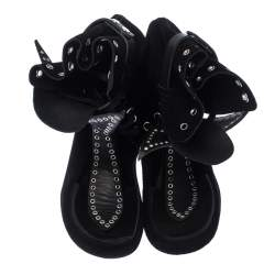 Isabel Marant Black Suede Eyelet Cut Out Bow Ankle Boots Size 37