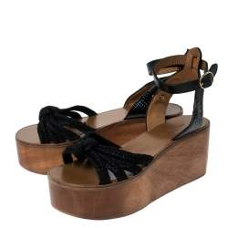 Isabel Marant Black Leather and Jute Zia Wooden Wedge Ankle Strap Sandals Size 38