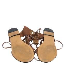Isabel Marant Tan Leather Jaysta Lace-Up Flat Sandals Size 38