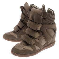 Isabel Marant Beige Suede Bekett Wedge Sneakers Size 37
