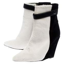 Isabel Marant Black/White Pony Hair and Suede Wedge Ankle Boots Size 38