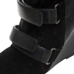 Isabel Marant Black Suede and Leather Scarlet Wedge Boots Size 37