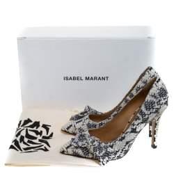 Isabel Marant Black/White Python Effect Leather Poppy Pumps Size 36
