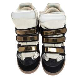 Isabel Marant Tricolor Python Embossed And Suede Leather Bekett Wedge High Top Sneakers Size 39