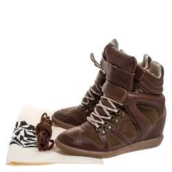 Isabel Marant Brown Leather and Suede Bekett Wedge Sneakers Size 38