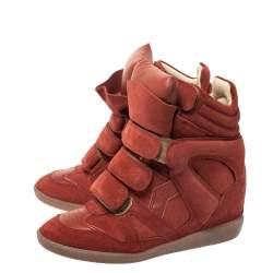 Isabel Marant Red Suede Bekett Wedge Sneakers Size 36
