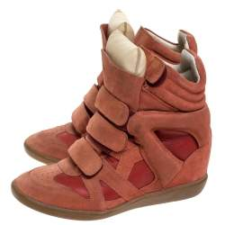 Isabel Marant Indian Red Suede Bekett Wedge Sneakers Size 39