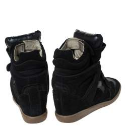 Isabel Marant Black Suede And Leather Bekett Wedge High Top Sneakers Size 38